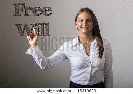 Free Will - Beautiful Girl Touching Text On Transparent Surface