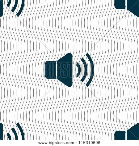 Speaker Volume Icon Sign. Seamless Pattern With Geometric Texture.