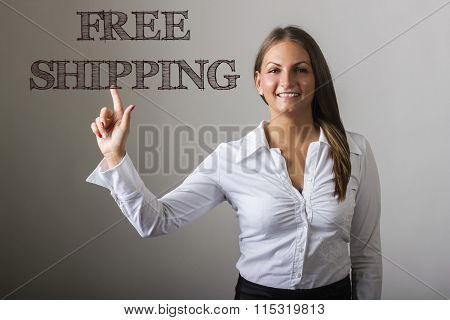 Free Shipping - Beautiful Girl Touching Text On Transparent Surface