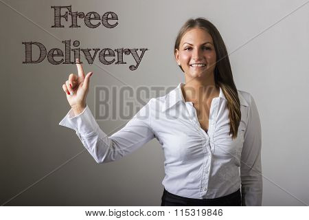 Free Delivery - Beautiful Girl Touching Text On Transparent Surface