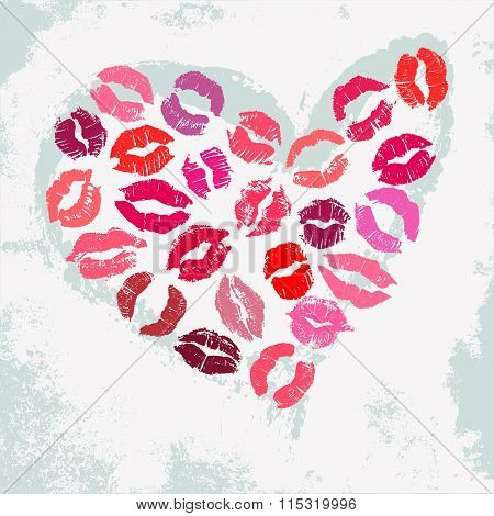 Romantic poster with decorative heart