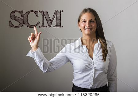Supply Chain Management Scm - Beautiful Girl Touching Text On Transparent Surface