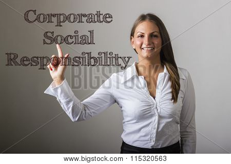 Corporate Social Responsibility Csr - Beautiful Girl Touching Text On Transparent Surface