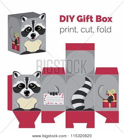 Adorable Do It Yourself raccoon gift box with ears for sweets, candies, small presents. Printable co