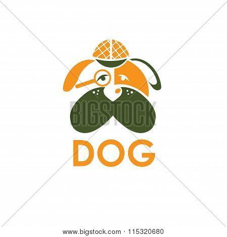 Dog In Sherlock Holmes Hat Vector Design Template