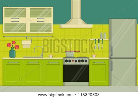 Interior illustration of a modern lime colored kitchen including furniture, oven, kitchen hood, uten