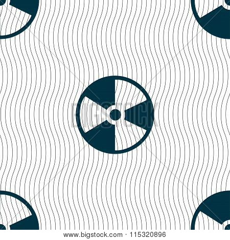 Radioactive Icon Sign. Seamless Pattern With Geometric