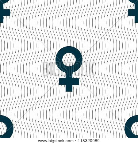 Female Icon Sign. Seamless Pattern With Geometric