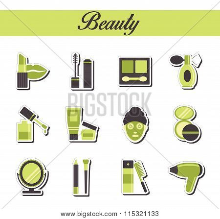 A collection of stylish modern flat sticker icons with pattern coloring for beuty, cosmetics and spa