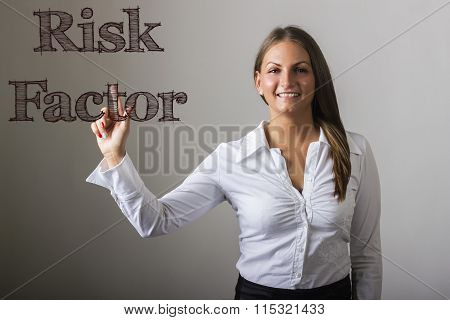 Risk Factor - Beautiful Girl Touching Text On Transparent Surface