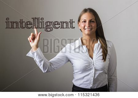 Intelligent - Beautiful Girl Touching Text On Transparent Surface