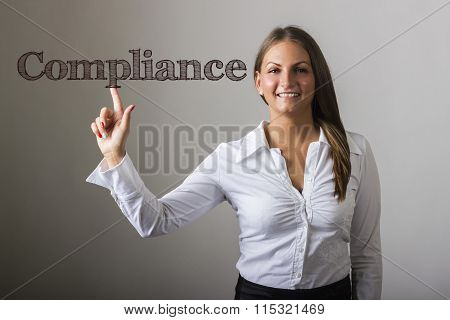 Compliance - Beautiful Girl Touching Text On Transparent Surface