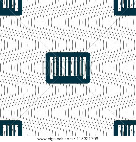 Barcode Icon Sign. Seamless Pattern With Geometric