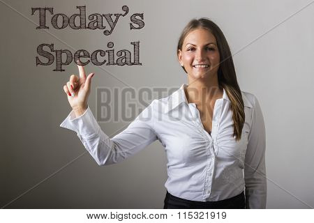 Today's Special - Beautiful Girl Touching Text On Transparent Surface