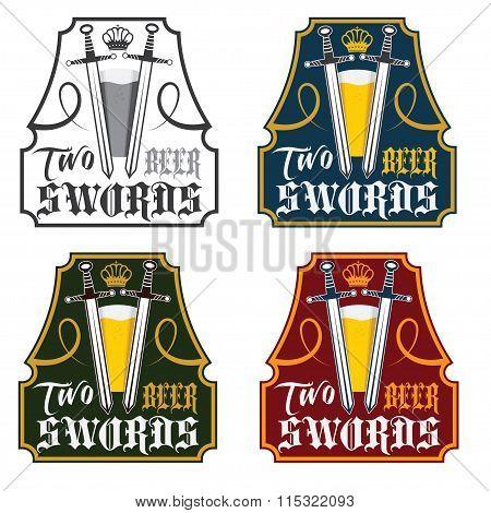 Two Swords Beer Vintage Labels Set