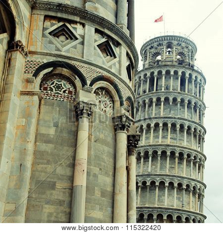 The Pisa Tower And Part Of Cathedral, Pisa, Italy