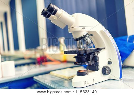 Chemical Laboratory Microscope And Tools. Scientific And Healthcare Reasearch Equipment