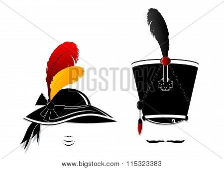 retro silhouette of the man and woman.