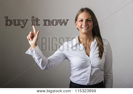 Buy It Now - Beautiful Girl Touching Text On Transparent Surface