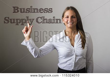 Business Supply Chain - Beautiful Girl Touching Text On Transparent Surface