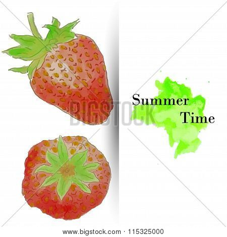 Summer time greeting card, watercolor strawberries