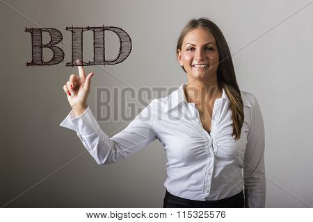 Bid - Beautiful Girl Touching Text On Transparent Surface