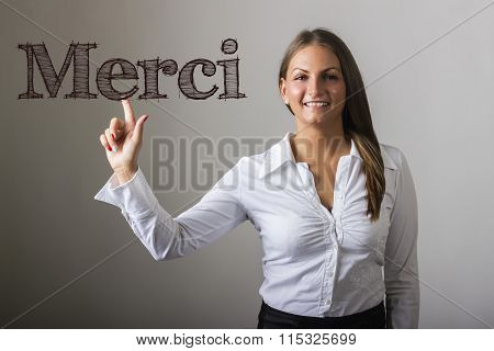 Merci - Beautiful Girl Touching Text On Transparent Surface
