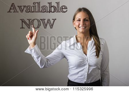 Available Now - Beautiful Girl Touching Text On Transparent Surface