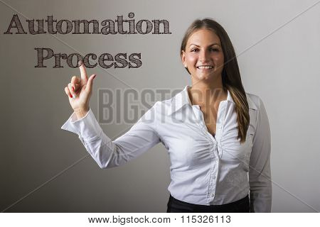 Automation Process - Beautiful Girl Touching Text On Transparent Surface