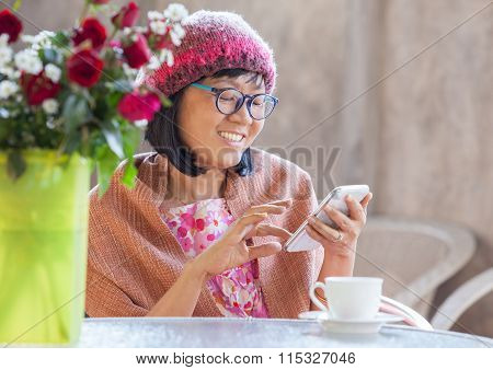 40S Years Woman Happiness Emotion Looking Message On Smart Phone  With Relaxation Use For People Dig