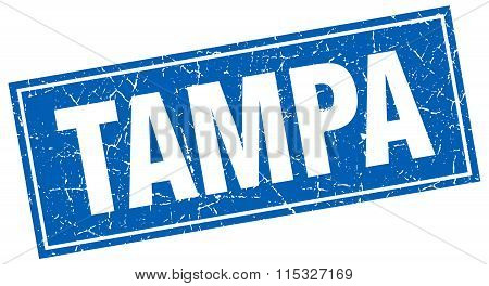 Tampa blue square grunge vintage isolated stamp