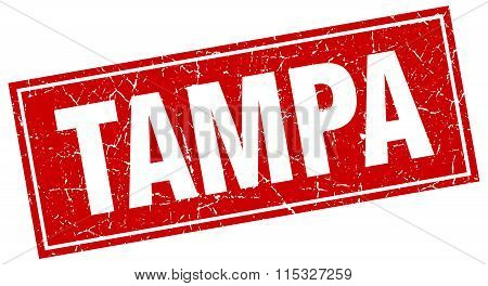 Tampa red square grunge vintage isolated stamp