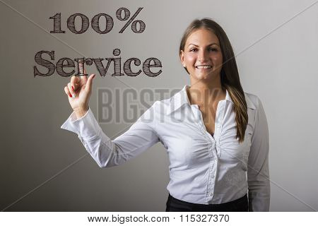 100% Service - Beautiful Girl Touching Text On Transparent Surface