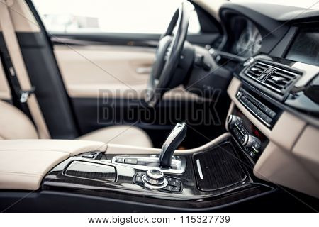Modern Beige And Black Interior Of Modern Car, Close-up Details Of Automatic Transmission And Gear S