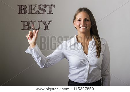 Best Buy - Beautiful Girl Touching Text On Transparent Surface