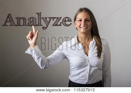 Analyze - Beautiful Girl Touching Text On Transparent Surface