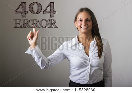 404 Error! - Beautiful Girl Touching Text On Transparent Surface