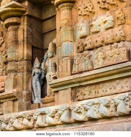 Part Of Wall Great Architecture Ancient Gangaikonda Cholapuram Temple, India, Tamil Nadu, Thanjavur