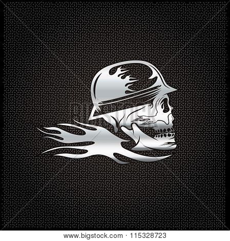 Silver Skull In Helmet With Flame Concept Vector Design Template