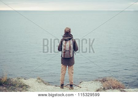 Traveler And Sea
