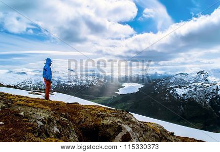 Hiker on a hilltop