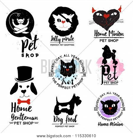 Pet shop logo. Dog and cat logotype sign.  Animal home icon logo.