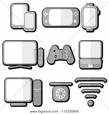 Technology Icons 2  With Shadow
