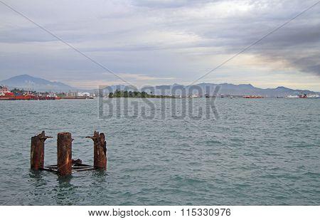 seascape against the background of Sumatra island
