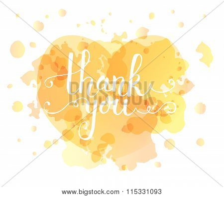 Hand Sketched Thank You Text For Postcard, Card, Invitation, Flyer, Banner Template.