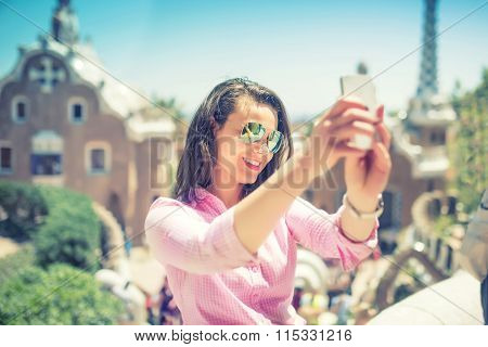 Attractive Woman Takin Selfie With Smart Phone, Mobile Phone. Modern Concept Of Photography, Selfie,
