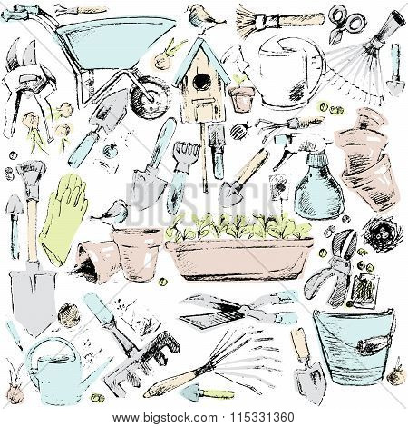 Garden tools set. Garden tools sketch illustration. horticultural accessories