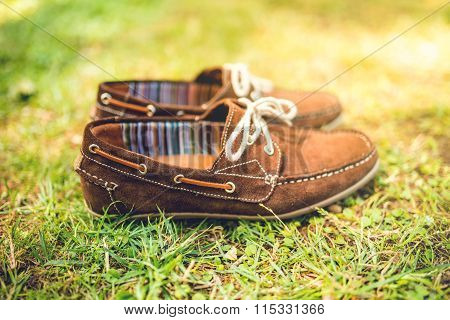 Mens Brown Leather Shoes, Suede Leather. Mens Fashion Concept, Brown Mocassins Ready For Catalog