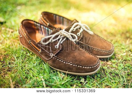 Modern Brown Leather Mens Shoes, Elegant Summer Moccasins In Grass. Men Fashion, Men Accesories