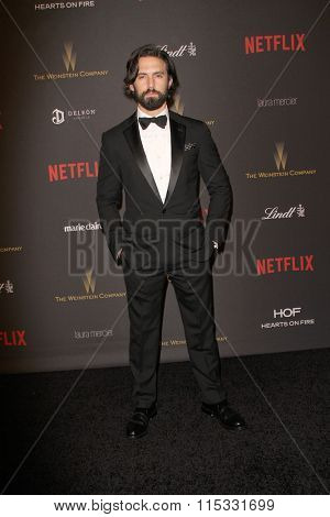 BEVERLY HILLS, CA - JAN. 10: Milo Ventimiglia arrives at the Weinstein Company and Netflix 2016 Golden Globes After Party on Sunday, January 10, 2016 at the Beverly Hilton Hotel in Beverly Hills, CA.